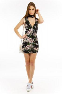 Imagem - Vestido Floral com Decote e Gola Choker