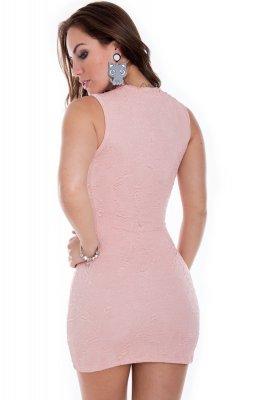 Imagem - Vestido Jacquard com Decote Trançado