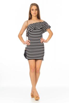 Imagem - Vestido Listrado Decote Assimétrico
