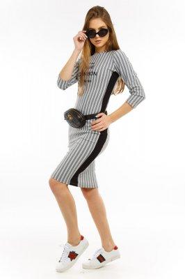 Imagem - Vestido Midi Estampado com Listra Lateral