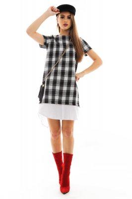 Imagem - Vestido Xadrez com Detalhe de Sobreposição
