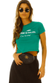 T-shirt Cropped com Lettering