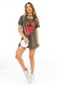 T-shirt Dress Camuflado com Detalhe Trançado