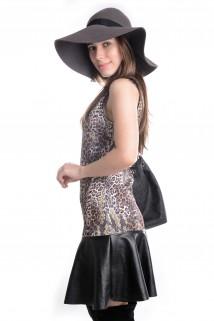 Vestido Animal Print com Courino 4