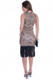 Vestido Animal Print com Franja 2