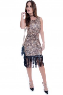 Vestido Animal Print com Franja 3