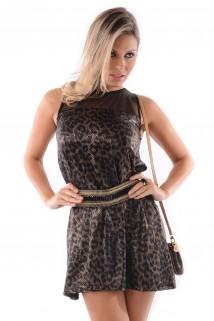 Vestido de Lycra com Tule
