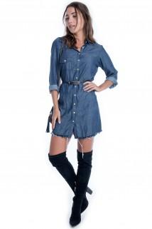 Vestido Jeans com Bolso 4