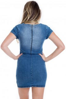 00384bd275 Home  Feminino · Kam Bess. Vestido Jeans com Decote V  Vestido Jeans com Decote  V 2 ...
