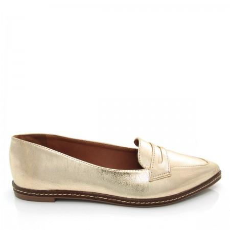 b4c62d68b Sapato feminino Mocassim Bico Fino Mariotta 16190-71 Metalizado ...