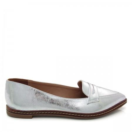 Sapato feminino Mocassim Bico Fino Mariotta 16190-71 Metalizado