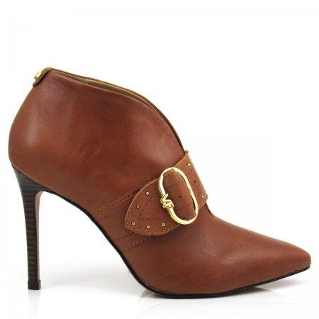 Bota Ankle Boot Feminino Salto Fino Verofatto 6013523 Couro