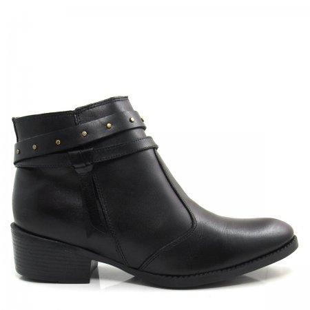 Bota Cano Curto Feminina Salto Grosso Olfer Shoes 967 Couro