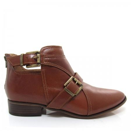 Bota Feminina Cano Curto Of Shoes 7141 Salto baixo Couro