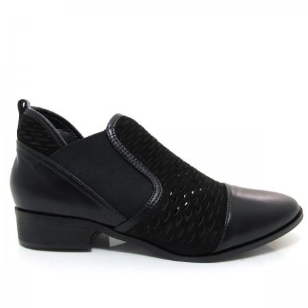 Bota Feminina Cano Curto Of Shoes 7147 Salto baixo Couro