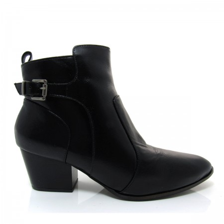 Bota Feminina Cano Curto Of Shoes 7236 Salto baixo Couro