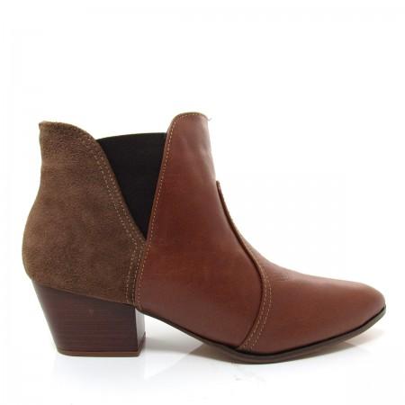 Bota Feminina Cano Curto Of Shoes 7237 Salto baixo Couro