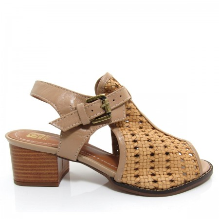 Sandália Feminina Of Shoes 3918 Salto Grosso Couro