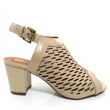 Sandália Feminina Of Shoes 6175 Salto Grosso Couro