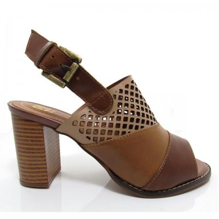 Sandália Feminina Of Shoes 6176 Salto Grosso Couro