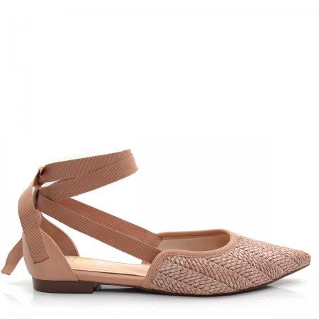 Sapatilha Feminina Bico Fino Olfer Shoes 50001-08 Amarrar