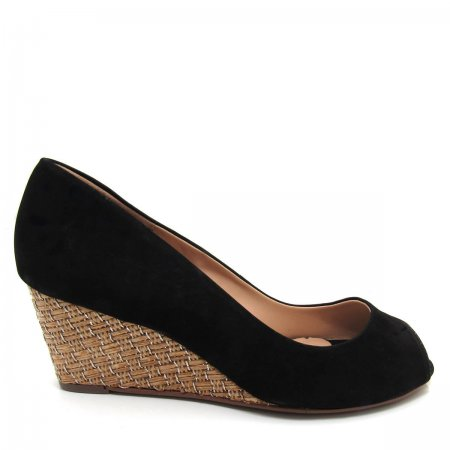 Sapato Feminino Anabela Peep Toe Santa Flor 501055 Couro