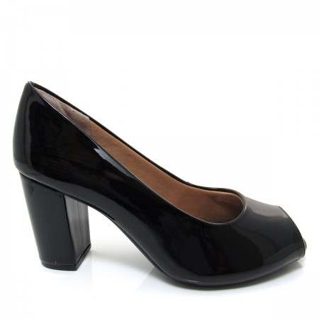 Sapato Feminino Peep Toe Mariotta 16100-50 Preto Salto Grosso