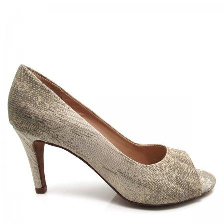 Sapato Feminino Peep Toe Santa Flor 306034 Couro