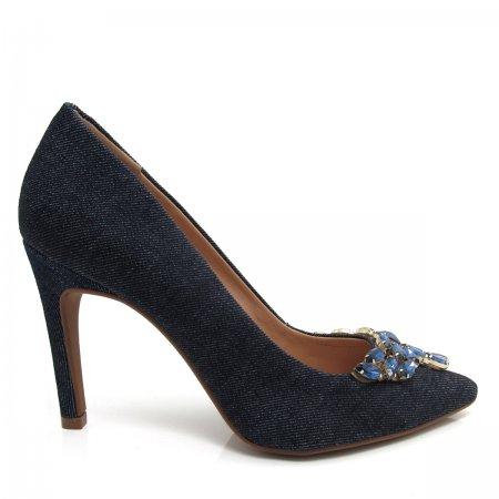 Sapato Scarpin Salto Fino Santa Flor 405031 Jeans