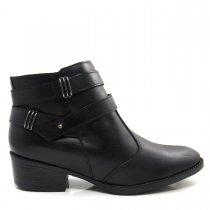 Imagem - Bota Cano Curto Feminina Salto Grosso Olfer Shoes 966 Couro - 004594