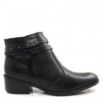 Imagem - Bota Cano Curto Feminina Salto Grosso Olfer Shoes 967 Couro - 004595