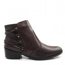 Imagem - Bota Cano Curto Feminina Salto Grosso Olfer Shoes 969 Couro - 004596