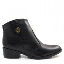 Imagem - Bota Cano Curto Feminina Salto Grosso Olfer Shoes 970 Couro - 004597