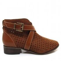 Bota Feminina Cano Curto Of Shoes 7146B Salto baixo Couro