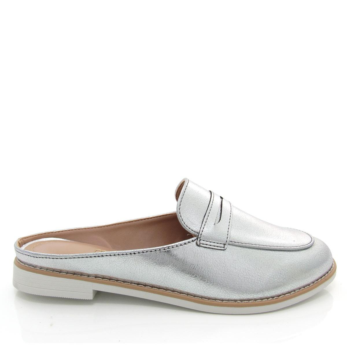 dbd7cc707c Sapato Mocassim Mule Feminino Mariotta 17175-147 Metalizado Coleção 2018