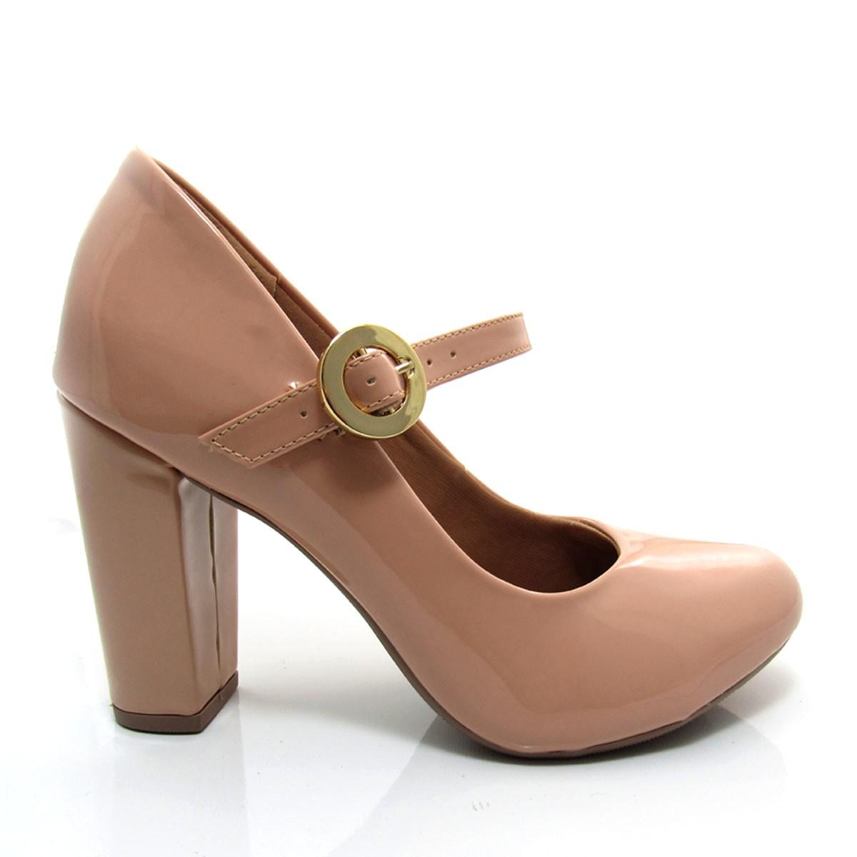7aded6e84 Sapato Feminino Scarpin Boneca Salto Alto Mariotta Bico Redondo