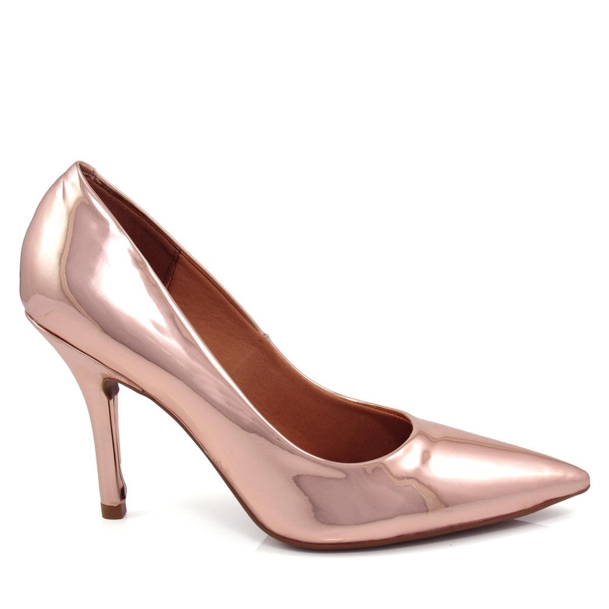 3f48908cc3 Sapato Scarpin Feminino Vizzano Bico fino Metalizado 1184113 Coleção 2018
