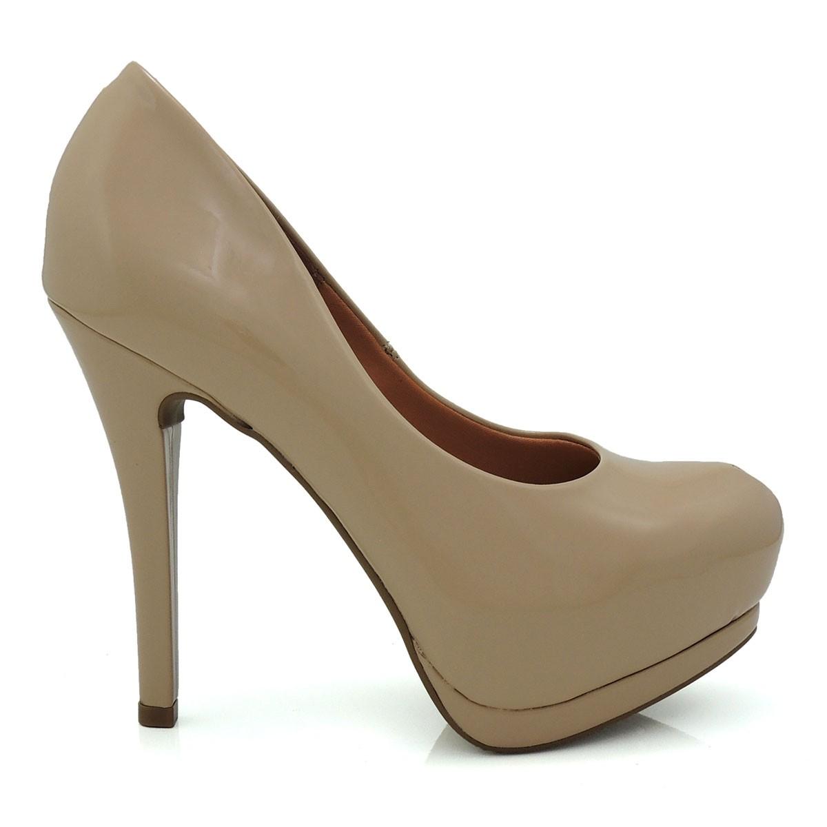 19b48d6b27 Sapato Feminino Scarpin Vizzano 1157300 Meia Pata Verniz Coleção 2018
