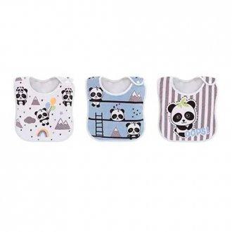 Imagem - Kit 3 Babadores Panda Azul Colibri cód: 43381