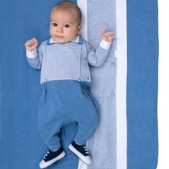 Imagem - Saída de Maternidade Paraiso Conforto e Listrada Azul Denim cód: 44747