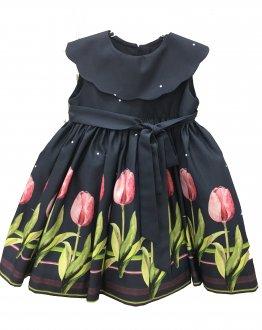 Imagem - Vestido Gola Onda Tulipa Mio Bebê cód: P1084