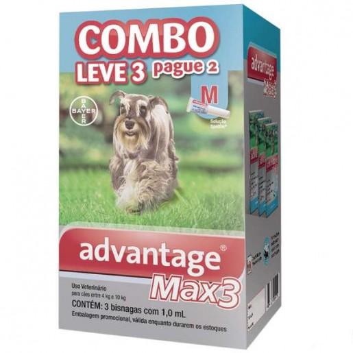 Advantage Max 3 M Cães de 4kg a 10kg Combo Leve 3 Pague 2