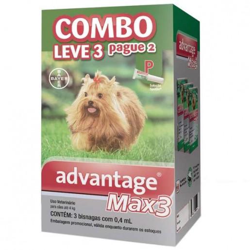 Advantage Max 3 P Cães até 4kg Combo Leve 3 Pague 2