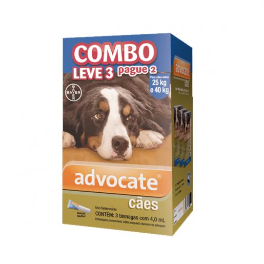 Advocate Combo Leve 3 Pague 2 Para Cães Entre 25kg e 40kg