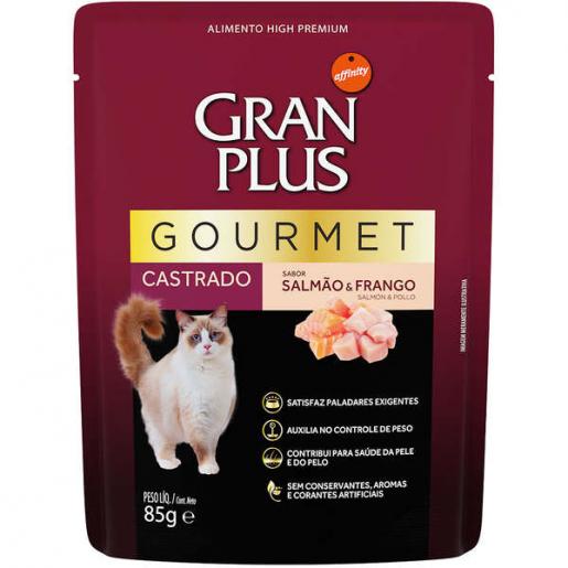 Alimento Úmido Sachê Gran Plus Gourmet Salmão e Frango Gatos Castrados 85g