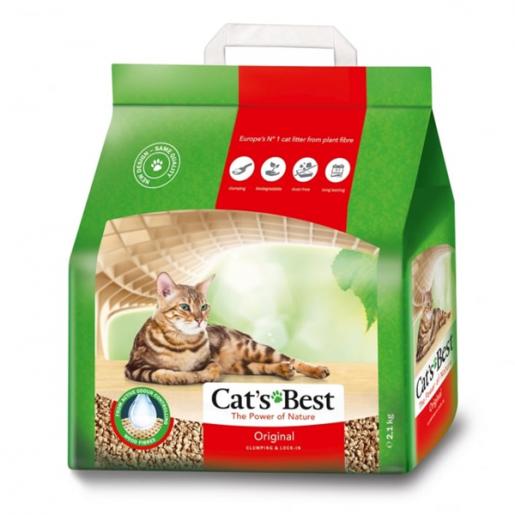 Areia Sanitária Higiênica Para Gatos Cats Best Okoplus 2,1kg
