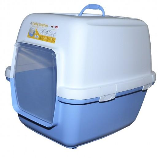 Banheiro Higiênico Happy Cat Chalesco Azul Com Carvão Ativado