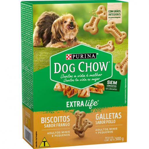 Biscoitos Dog Chow Extralife Cachorros Raças Pequenas Frango 500g