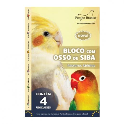 Bloco Osso Siba Pássaros Médios Pombo Branco 4 unidades
