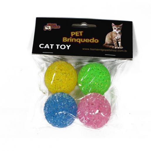 Bolinhas Coloridas com Guizo Gatos 4 unidades Bom Amigo